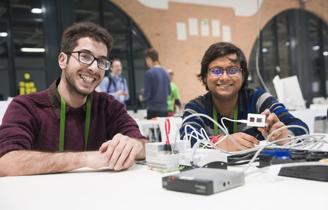 Young engineering students during IoT education