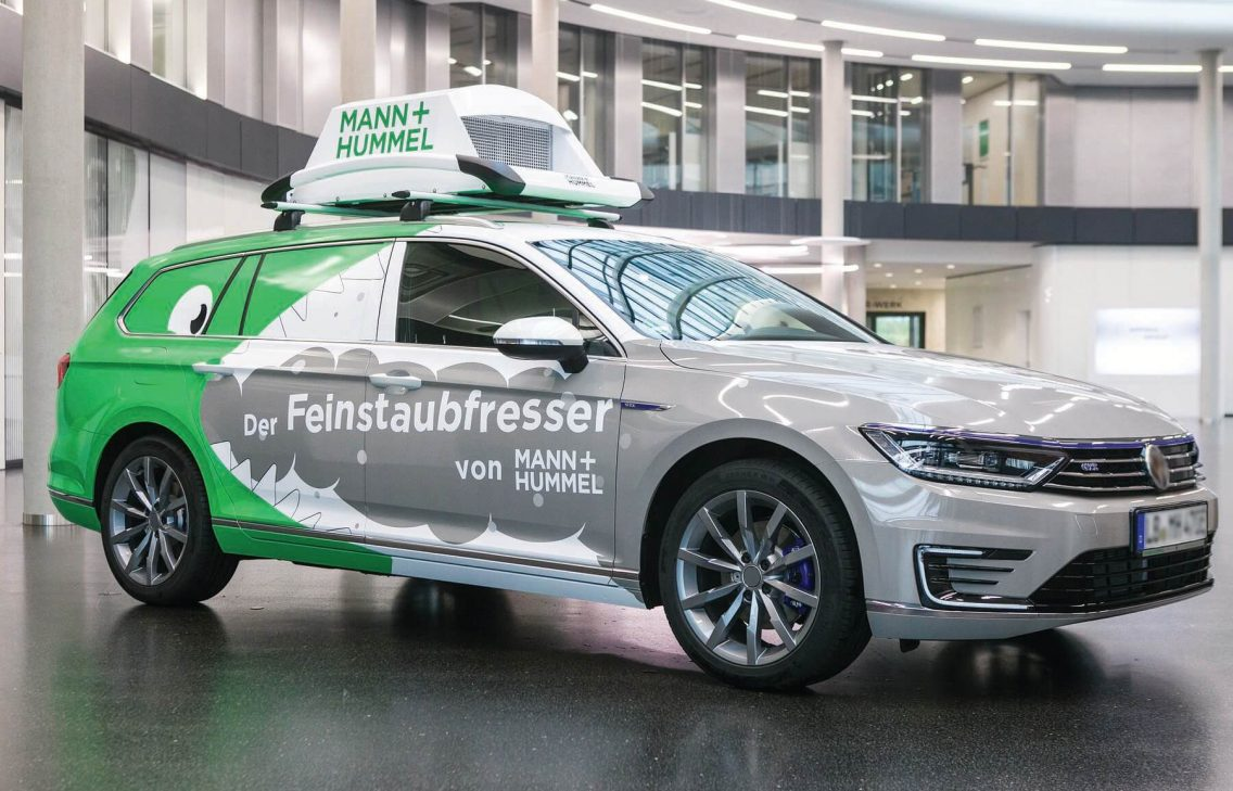 Car with Mann + Hummel branding written on it. The company uses device management to connect its filters to collect data.
