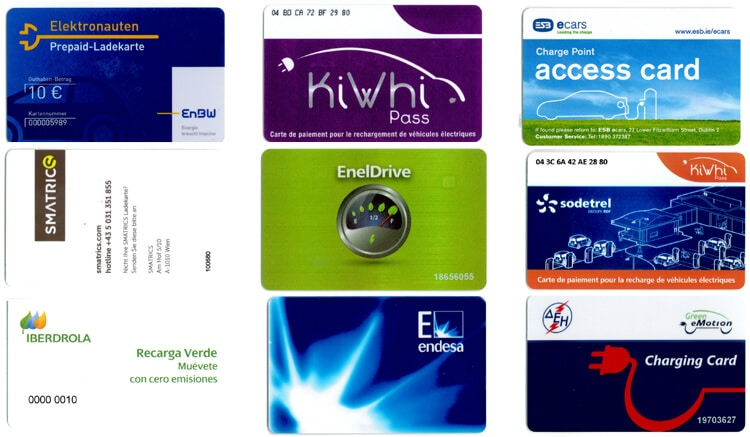 This image shows a selection of RFID cards used within Green eMotion project: elektronauten, smatrics, iberdrola, kiwhi pass, enel drive, endesa, charge point access card, sodetrel, green emotion charging gard.