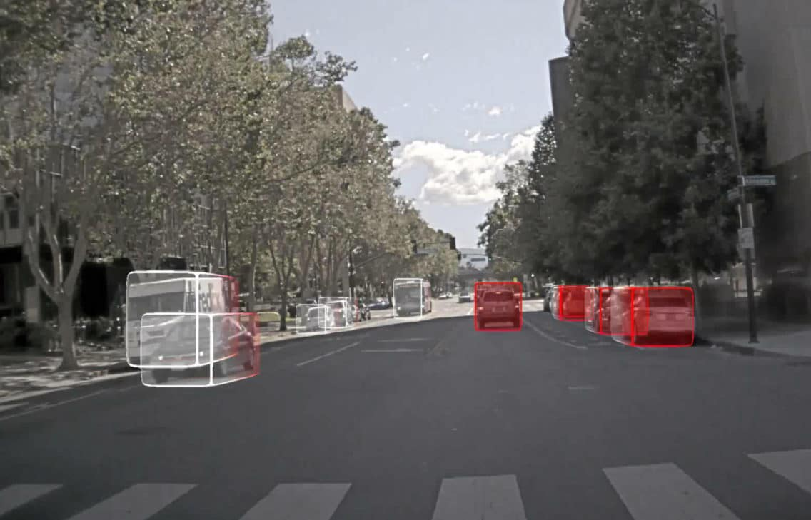 Image showing how a self driving car sees its surroundings.