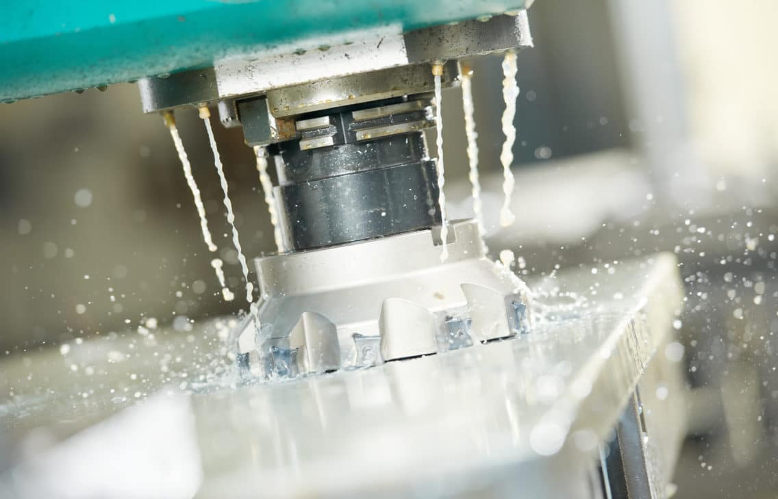 Close-up of a milling machine.