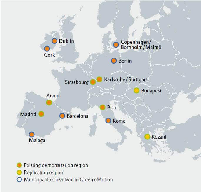 "This map shows the demonstration regions of the emobility project ""Green eMotions"": Spain, South Ireland, France, Italy, Germany, Denmark, Hungary and Greece"