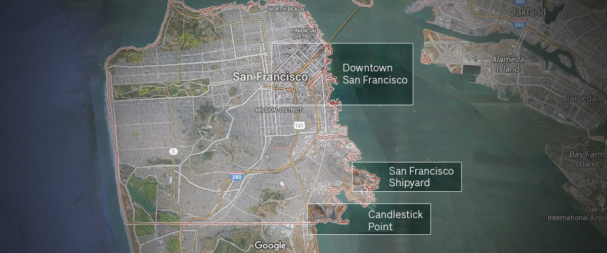 "Map of San Francisco showing where ""The Shipyard Communities"" are located."