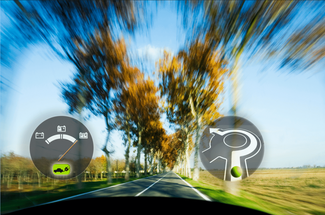 View from windshield with navigation applications for electromobility