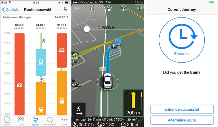Screenshot of navigation service for different ways of mobility