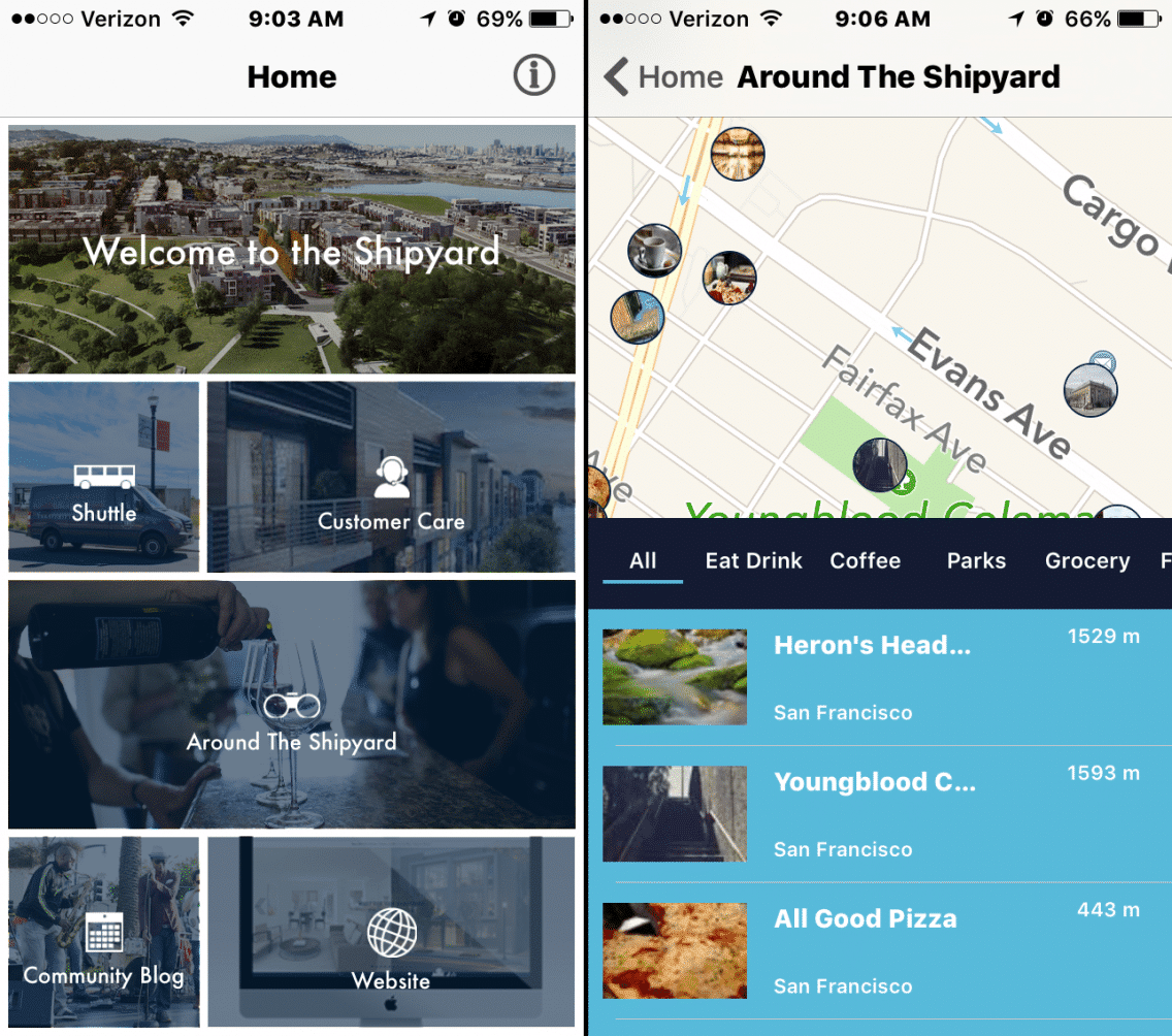 "Screenshots of the The Smart Community App used in ""The Shipyard Communities"" project by FivePoint and Bosch."