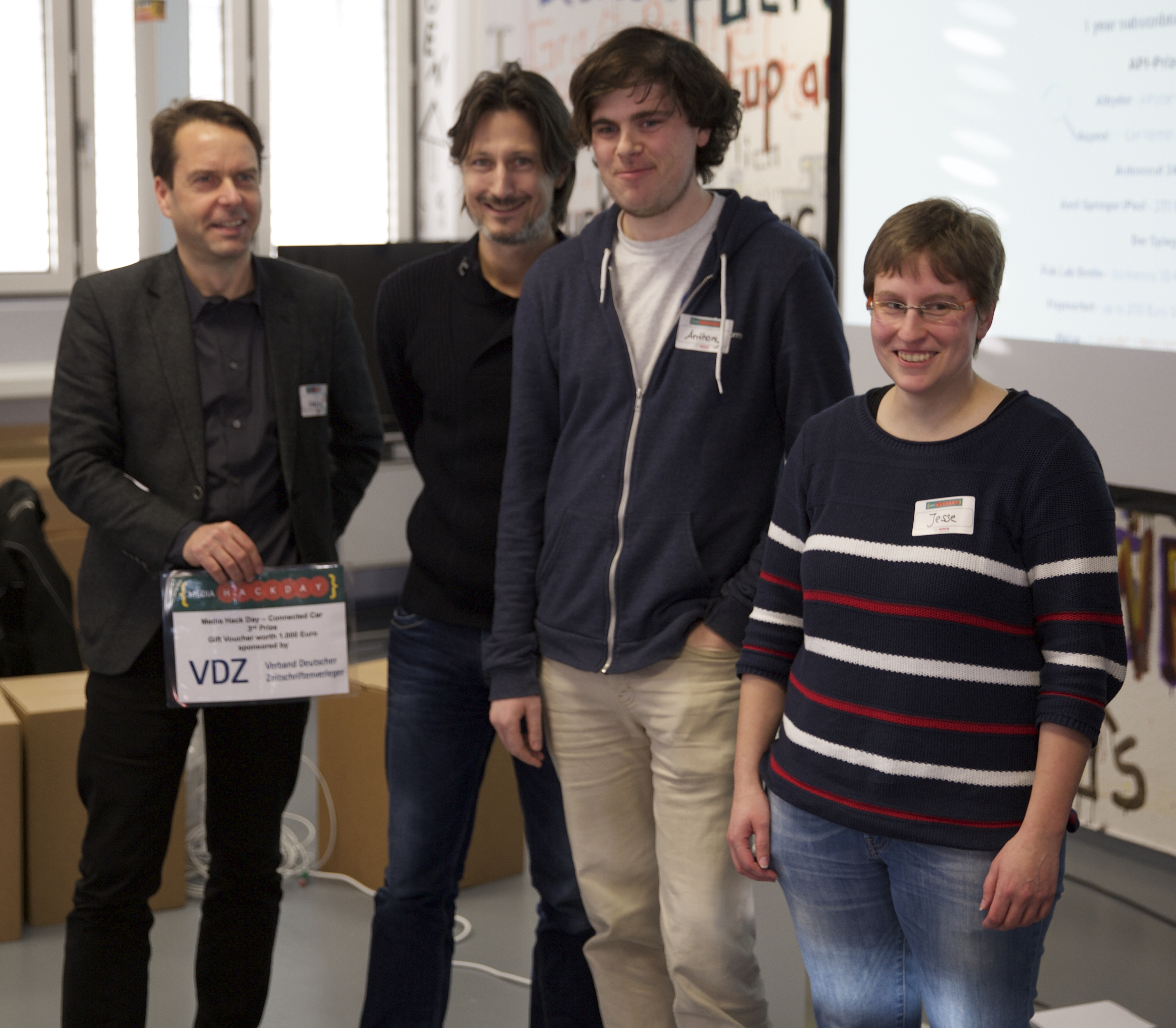 Winners of the 3rd prize at Connected Cars MediaHackDay
