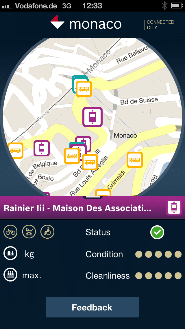 "Screenshot of the smartphone app that is part of the ""Monaco 3.0"" demonstrator project."
