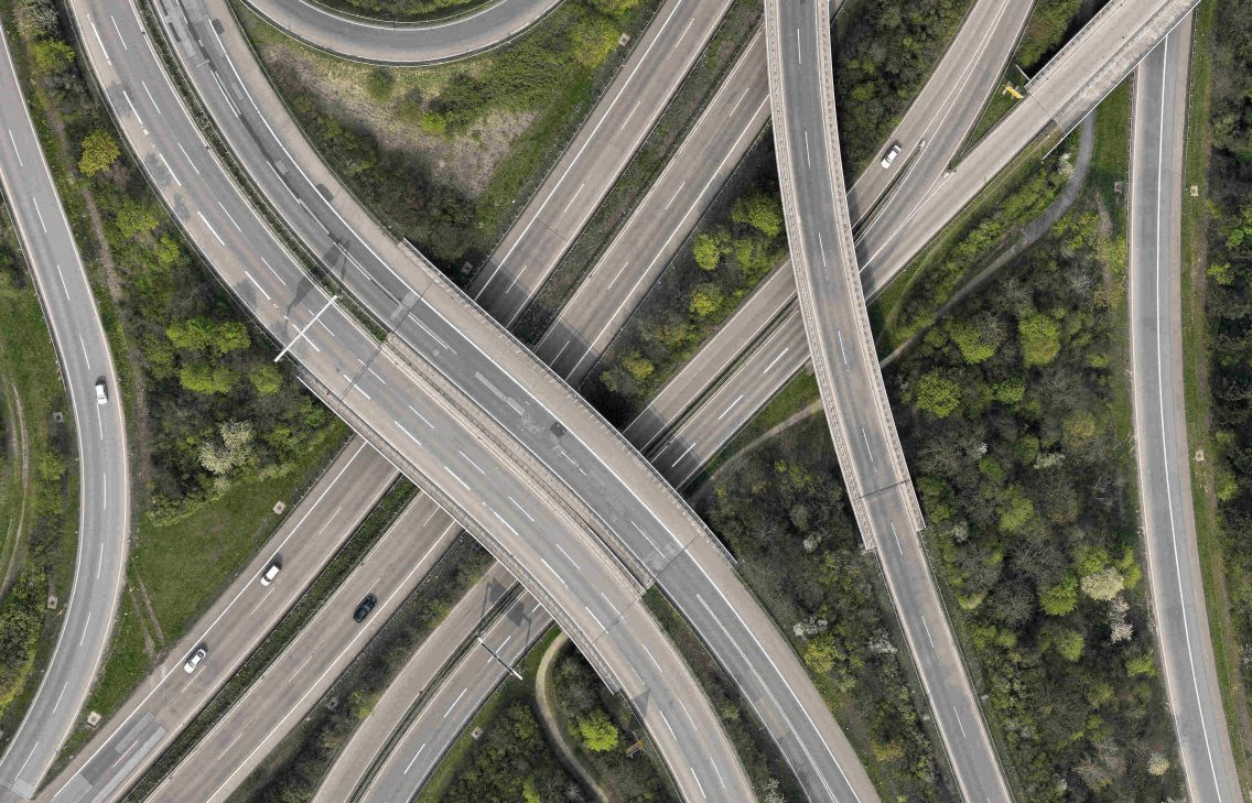 Aerial shot of a highway junction.