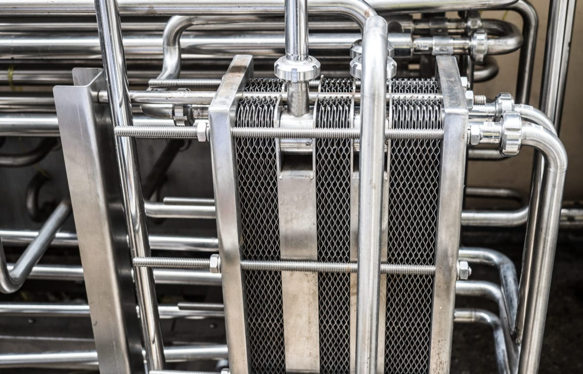 Close-up of a heat exchanger.
