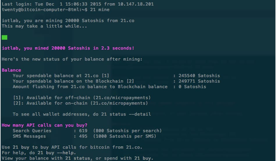 Screenshot of remote access to 21 Bitcoin Computer