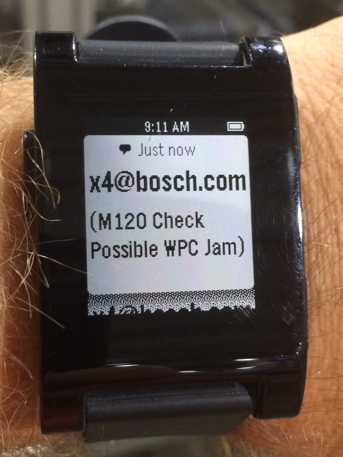 Smart watch of Industry 4.0 Boscj application with display detail