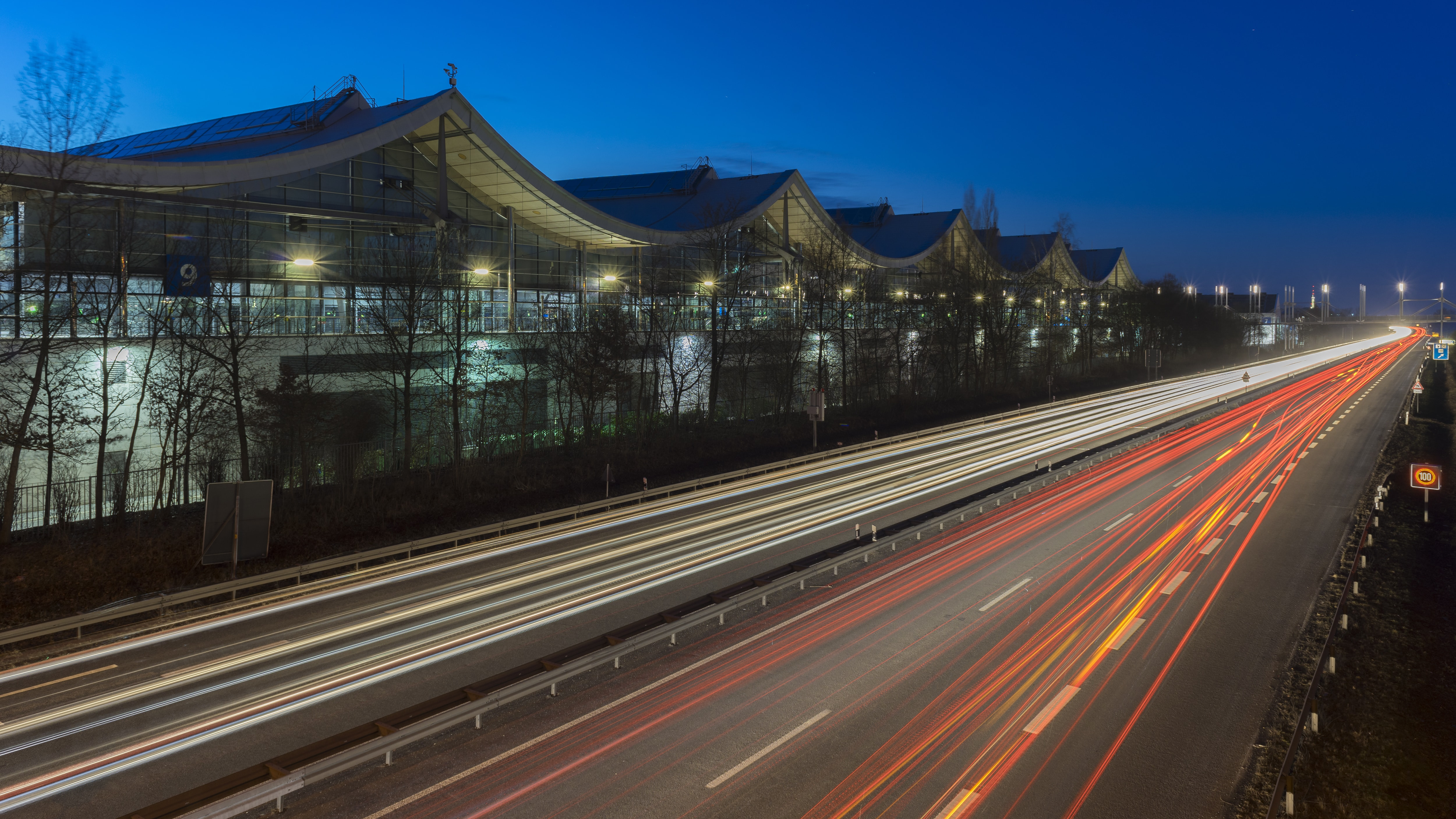traffic street hannover germany elevated view road city car highway urban mobility autobahn twilight